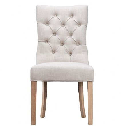 Loire Beige Curved Button Back Chair